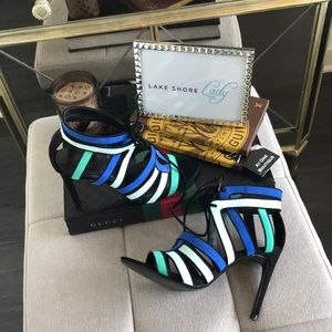 Zara Collection Blue Green Multi Shoes // Sandals